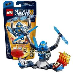Lego Year 2016 Nexo Knights Series Figure Set #70330 - ULTIMATE CLAY with Tornado Blades, Sword, Force Field Disc and Showcase Stand (Pieces: 72)