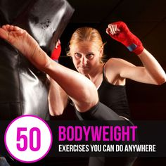50 Bodyweight Exercises You Can Do Anywhere : #fitness