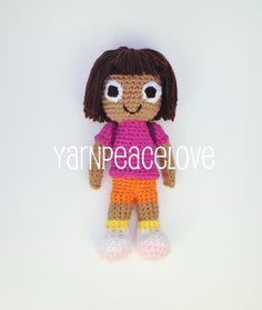 Crochet Dora The Explorer inspired doll by YarnPeaceLove    www.facebook.com/YarnPeaceLove