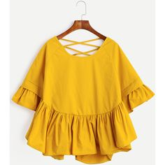 SheIn(sheinside) Yellow Lattice-Back Ruffle Sleeve Blouse (115 HRK) ❤ liked on Polyvore featuring tops, blouses, yellow blouse, flutter sleeve blouse, yellow top, ruffle sleeve top and flutter sleeve top