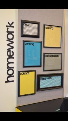 Post the homework on picture frames