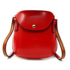 da8c544ab1e46 Women PU Leather Mini Crossbody bag Bucket Bag Phone Bag Red Shoulder Bags