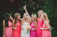 hot pink bridesmaids dresses! // photo by Studio Castillero