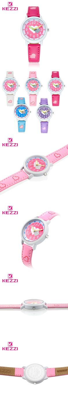 KEZZI Love Hearts child Watches Girl Leather Printing Strap Cartoon Kids Watch Students Quartz Wristwatch Casual Fashion Horloge