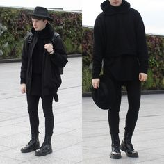 Asos Oversized Cropped Hoodie, Asos Catarzi Fedora, Represent Oblivion Long Bomber Jacket, Topman Spray On Skinny Jeans, Dr. Martens Grasp Boot, Lust Limited  Unix