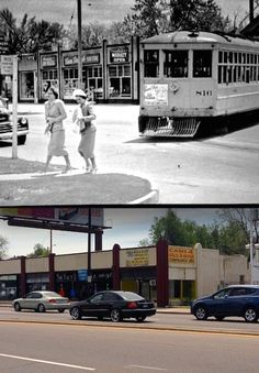 The shops at Colfax and Quebec: Then & Now  The old photo above shows the Denver Tramway streetcar #816 leaving the Poplar Street Loop Station. The photo below shows the current state of those once great art deco shops.