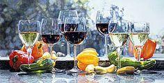 Peppers & Wine - Eric Christensen - Watercolor Paintings - Judith Hale Gallery