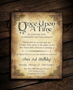 Invitation - vintage birthday, prom, fairy tale party, once upon a time Disney Invitations, Vintage Wedding Invitations, Party Invitations, Invites, Baby Girl Shower Themes, Girl Themes, Baby Shower, Bridal Shower, Fairy Birthday