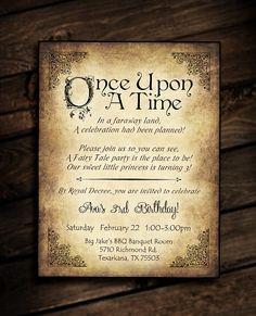 Once Upon A Time - histoire de conte de fées - vintage - Réservez à - Grimm - rêve venir vrai - princess - vieux - fête d'anniversaire - douche-