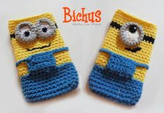 Bichus Amigurumis: Minion : Funda para movil - Patron Amigurumi Crochet Case, Crochet Phone Cases, Crochet Diagram, Diy Phone Case, Crochet Purses, Crochet Stitches, Crochet Crafts, Crochet Projects, Crochet Designs
