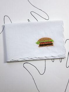 Embroidered Cheeseburger Handkerchief by wrenbirdarts    Bob's Burgers, Burger Lover, Foodie Present, Cheeseburger Present, Stocking Stuffer, Co-worker Holiday