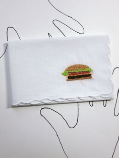 Embroidered Cheeseburger Handkerchief by wrenbirdarts    Bob's Burgers, Burger Lover, Foodie Present, Cheeseburger Present, Stocking Stuffer, Co-worker Holiday