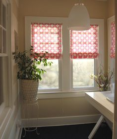 DIY Roman Shades - no sew, and you use old blinds as a base. Sooo simple!