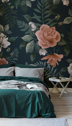 Dark Green and Pink Floral Wall Mural Moody and marvellous, this dark floral wallpaper brings a luxurious feel to your bedroom. Sumptuous tones of emerald green and pinkish hues come together to give a truly elegant wallpaper design. Green Bedroom Design, Floral Bedroom, Bedroom Green, Bedroom Colors, Bedroom Decor, Bedroom Ideas, Wall Paper Bedroom, Colourful Bedroom, Emerald Green Bedrooms