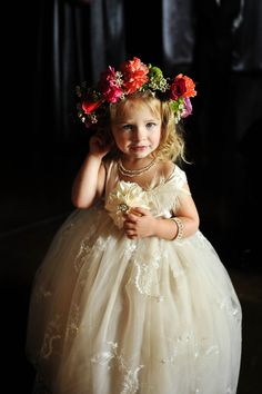 Captivating Weddings; serving the greater Austin Texas area; flower girl; floral head garland; flowers in her hair