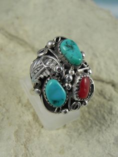Native American  Turquoise Coral  Ring by hollywoodrings on Etsy, $65.00