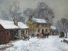 'Horse And Sleigh Days' by Edward Willis Redfield (1869-1965, United States)