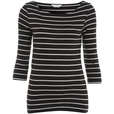 Black stripe 3/4 sleeve top ($12) ❤ liked on Polyvore featuring tops, blouses, t-shirts, 3/4 sleeve boatneck top, stripe blouse, boatneck blouse, striped blouse and boat neck tops