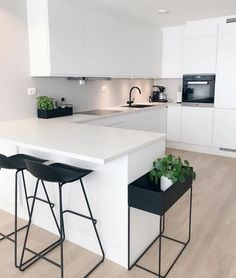 "Modern Kitchen Interior Modern Interior Inspiration ( ""Inspiration: So happy to share you ❤️ Love from ❤️ ______________…"" - Minimalist Kitchen Design, Modern Kitchen Interiors, Contemporary Kitchen, Kitchen Design, White Modern Kitchen, White Kitchen Design, Home Decor Kitchen, Kitchen Interior, Minimalist Kitchen"