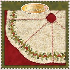 Holly & Berries Tree Skirt Pattern: The Holly & Berries Tree Skirt  is an original design by Jennifer Bosworth of Shabby Fabrics. http://www.shabbyfabrics.com/Holly-Berries-Tree-Skirt-Pattern-P8371.aspx