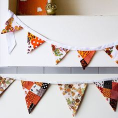 Handmade bunting with vintage fabric designed by Australian Madeleine Sargent
