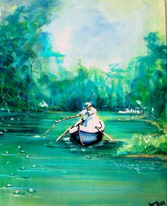 Art Original Painting, 16x20, Acrylic, Paint marker, Impressionism, Lady Fishing, Summer, Water, Donna L. Allen          I Take CREDIT CARDS via Etsy