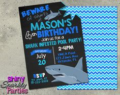 Free printable shark party invitations keenans 5th birthday printable shark pool party invitation digital file only filmwisefo