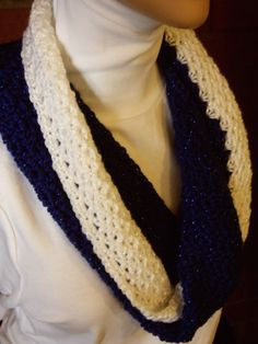 Royal blue and white sparklie cowl