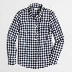 Factory classic button-down shirt in navy gingham