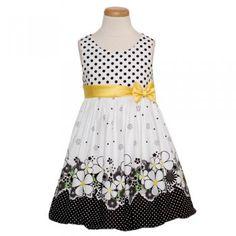 Bonnie Jean White Black Dot Flower Easter Dress Girls 12M-6X