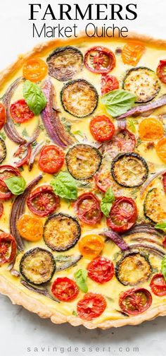 Farmers' Market Quiche - A tasty, fresh vegetable quiche filled with zucchini, onions, tomatoes and cheese. A wonderful addition to your brunch table! # Food and Drink menu dinner parties Farmers' Market Quiche Quiche Chorizo, Cheese Quiche, Tomato Quiche, Egg Recipes, Cooking Recipes, Dinner Recipes, Recipies, Drink Recipes, Vegetable Quiche