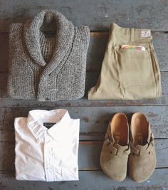 Howlin' - Flying Teapot Shawl Cardigan Earl's - Officer Chino The Printed Image - Fishing Bandanna Gitman Bros. Vintage - White Oxford Birkenstock - Boston Taupe Suede