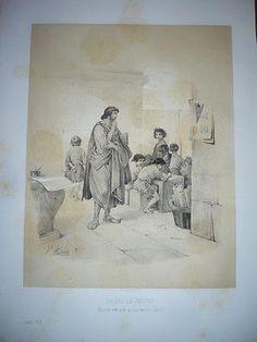 GRAVURE 19° SIÈCLE DENYS LE JEUNE MAÎTRE D'ÉCOLE A CORINTHE EN 342