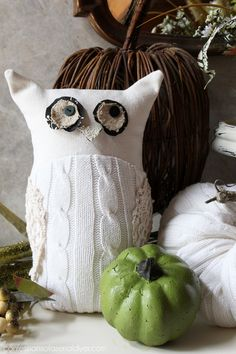 Upcycle an old sweater into this whimsicle Owl. Use the leftovers for a pumpkin or two! Confessions of a Serial Do-it-Yourselfer