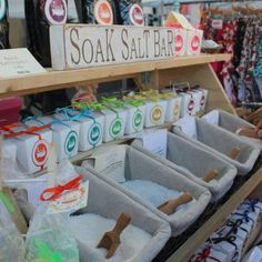 This is Soak Essentials Bath Salts display.