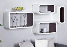 Retro Lounge cubus - wit / bruin.  70'ies design wandplanken - wand kubus ook voor op de vloer als etalage of kast.