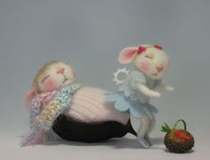 felted baby mousebunnies