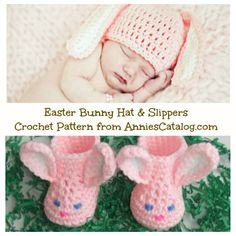 Easter Bunny Crochet Baby Hat & Slippers Pattern Pack from AnniesCatalog.com -- An easy-to-crochet springtime hat and slipper set for baby.