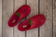Felted strawberry slippers