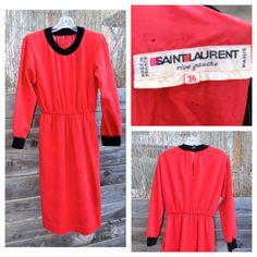 Saint Laurent Red and Black Vintage Dress YSL by LetThemEatCakeLA, $125.00