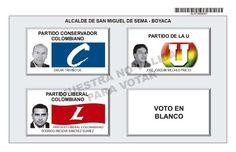 Tarjetón de elección para Alcalde de San Miguel de Sema