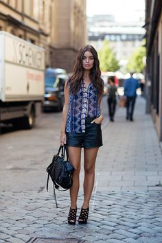 Leather Shorts Outfit Inspiration.