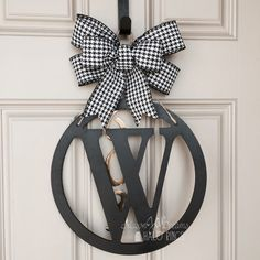 Monogram Door Hanger Initial Door Hanger by MasonJarsHaloRings $45