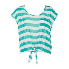 Woven Stripe Tie-Front Top ($30) ❤ liked on Polyvore featuring tops, t-shirts, shirts, crop tops, view all tops, short sleeve t shirts, t shirts, blue shirt, stripe t shirt and striped crop top
