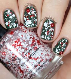 Candy Cane Crush - Scented Holiday Polish by KBShimmer - This top coat is loaded with red and white hex glitters in many different sizes.