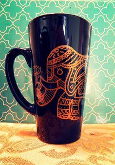 Coffee Mug GOLDEN ELEPHANT Hand Illustrated Dark blue mug by WholeWildWorld, $14.00 lotus flower, kitchenware, dishes, tea cup