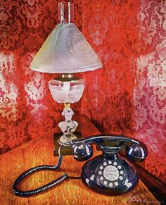 New York City Artist: Friendship is like a long phone call about nothing.old dial up phone, gas light
