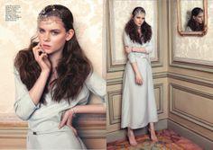 Huf magazine #marlota #longdress #acqua #belt  http://marlota.es/product/v-neck-long-dress-seta/ http://marlota.es/product/cinturon-fino-ante/
