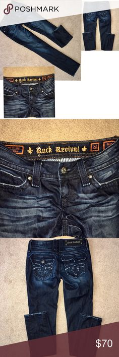 "SIZE 26 women ROCK REVIVAL SKINNY JEANS . SIZE 26 women ROCK REVIVAL SKINNY JEANS . Authentic! The inseam is 30"". They are like new except for a missing button shown in photo on the back pocket . Dark wash in color bundle & $ave! Cheaper on 🅿️ay🅿️al Rock Revival Jeans Skinny"
