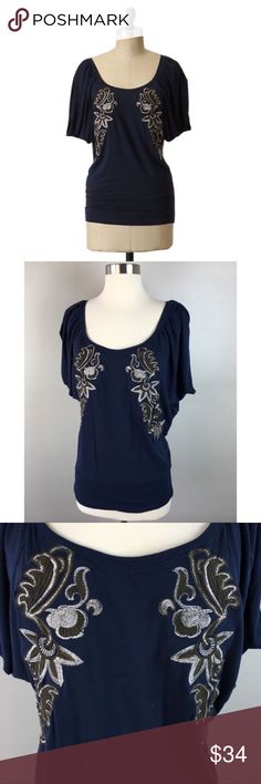 "🆕 Deletta Anthro Mandevilla Navy Dolman Top NWOT Deletta XS Mandevilla Embroidered Dolman Top NWOT🔸Size XS but runs larger🔸Dolman Sleeve Pullover🔸Anthropologie🔸Made of a Flowy and Stretchy Blend 🔸Beautiful embroidered detailing on the front🔸Snug banded waist🔸95% Viscose and 5% Spandex🔸Bust 36"" stretching to 48""🔸Length from shoulder to hem at 26""🔸NWOT Anthropologie Tops Blouses"